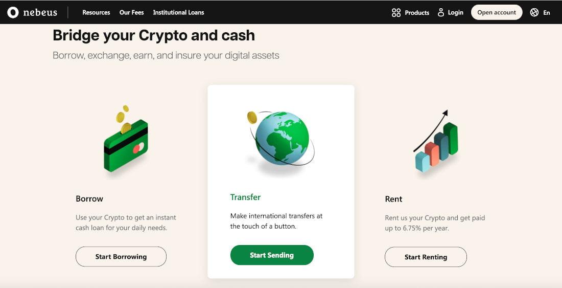Nebeus é uma plataforma de empréstimo de criptografia